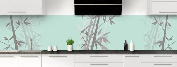 Crédence de cuisine Bambou zen couleur vert pastel panoramique
