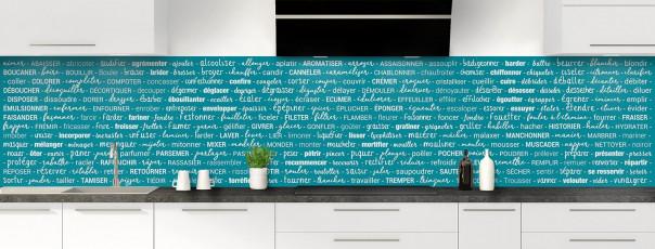 Crédence de cuisine Etapes de recette couleur bleu canard panoramique