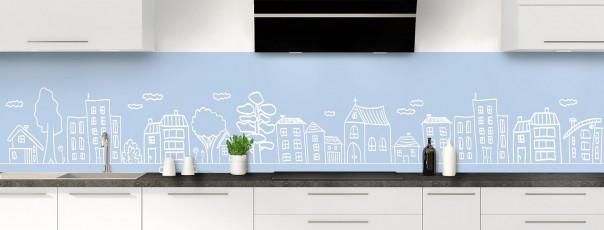 Crédence de cuisine Dessin de ville couleur bleu azur panoramique
