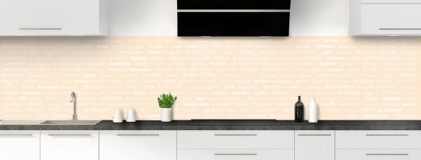 Crédence de cuisine Etapes de recette couleur sable panoramique