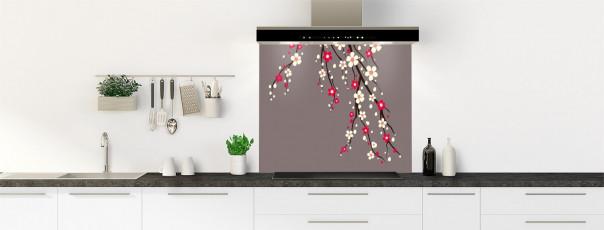 Crédence de cuisine Arbre fleuri couleur taupe fond de hotte