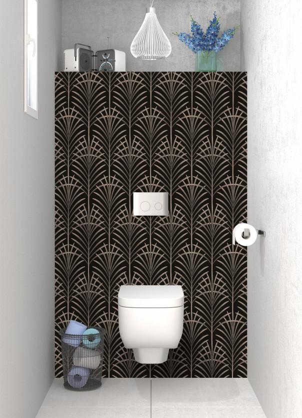 Panneau WC Feuilles de paume couleur marron glacé