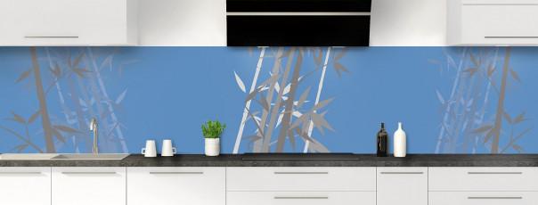 Crédence de cuisine Bambou zen couleur bleu lavande panoramique