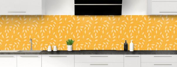 Crédence de cuisine Rideau de feuilles couleur abricot panoramique