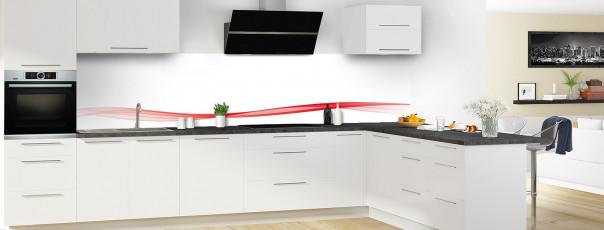 Crédence de cuisine Vague graphique couleur rouge vif dosseret motif inversé en perspective