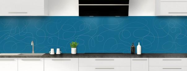 Crédence de cuisine Gribouillis couleur bleu baltic panoramique