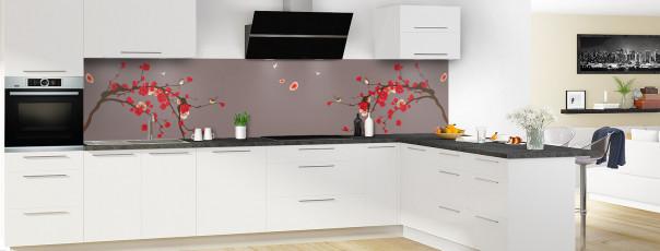 Crédence de cuisine Cerisier japonnais couleur taupe panoramique motif inversé en perspective
