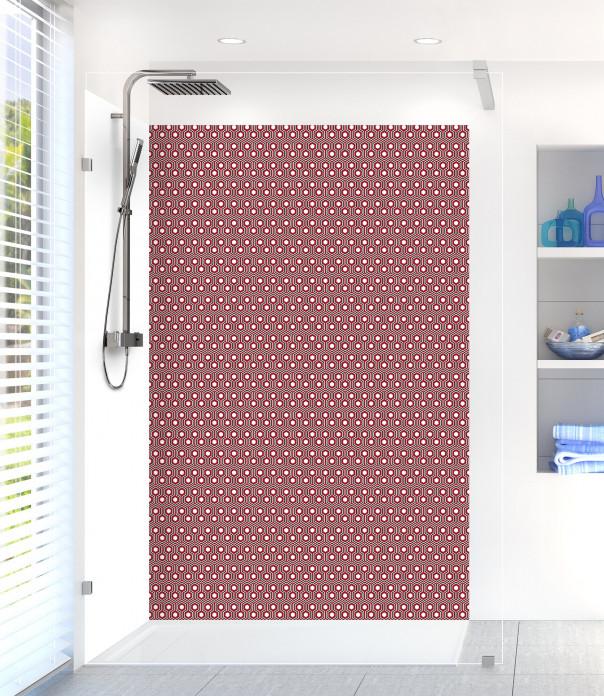 Panneau de douche Hexagones  couleur rouge carmin