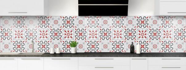 Crédence de cuisine Carreaux de ciment riad rouge panoramique
