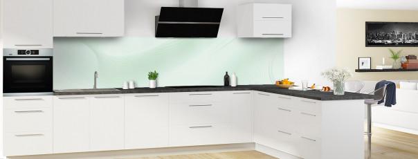 Crédence de cuisine Volute couleur vert eau panoramique en perspective