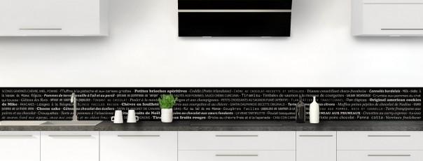 Crédence de cuisine Recettes de cuisine couleur noir dosseret