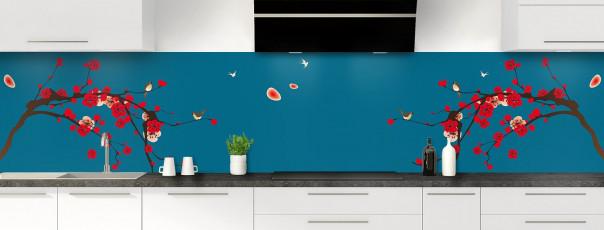 Crédence de cuisine Cerisier japonnais couleur bleu baltic panoramique