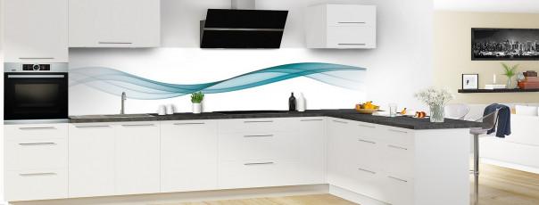 Crédence de cuisine Vague graphique couleur bleu canard panoramique motif inversé en perspective