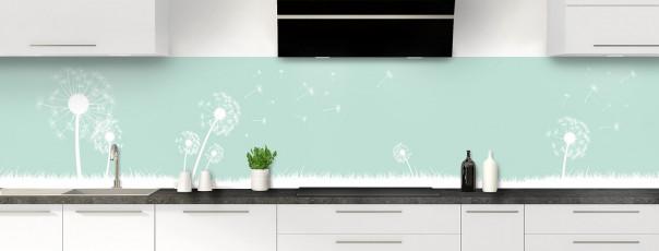 Crédence de cuisine Pissenlit au vent couleur vert pastel panoramique