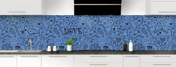 Crédence de cuisine Love illustration couleur bleu lavande panoramique