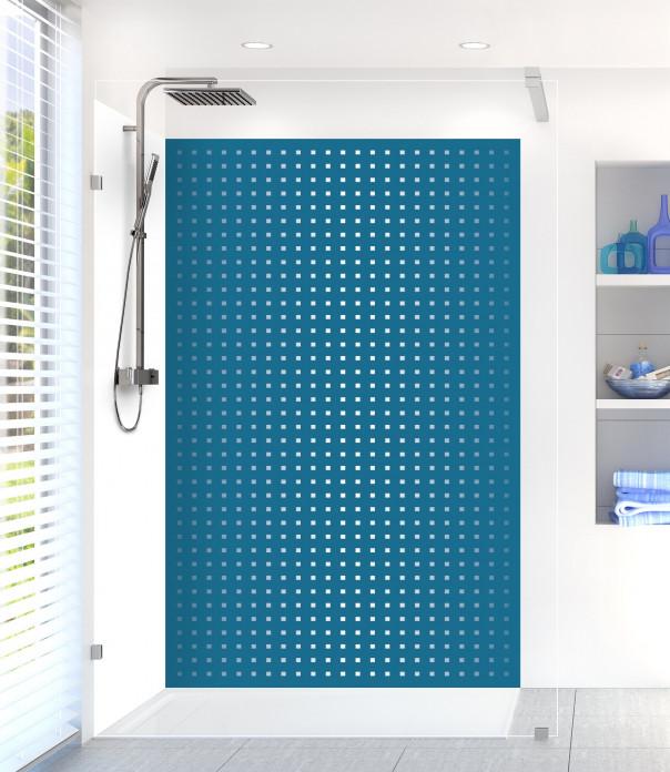 Panneau de douche Petits carrés couleur bleu baltic