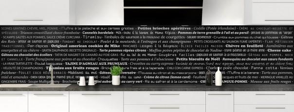 Crédence de cuisine Recettes de cuisine couleur noir panoramique