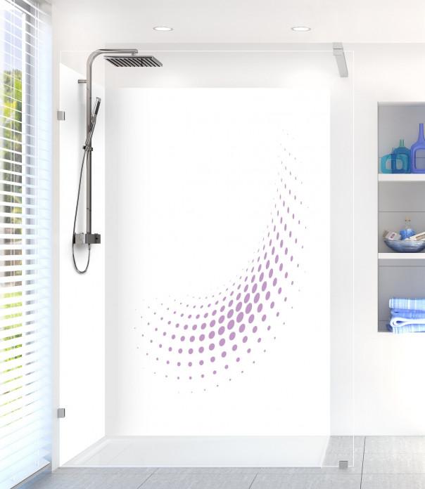 Panneau de douche Nuage de points couleur parme motif inversé
