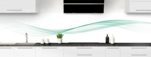 Crédence de cuisine Vague graphique couleur vert pastel panoramique motif inversé