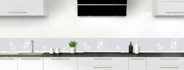 Crédence de cuisine Pissenlit au vent couleur gris clair dosseret motif inversé