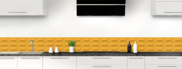 Crédence de cuisine Briques en relief couleur abricot dosseret