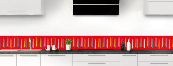 Crédence de cuisine Barres colorées couleur rouge vif dosseret