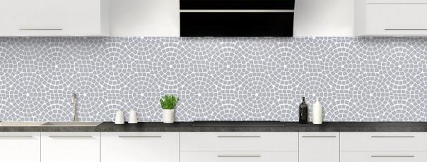 Crédence de cuisine Mosaïque cercles couleur gris métal panoramique