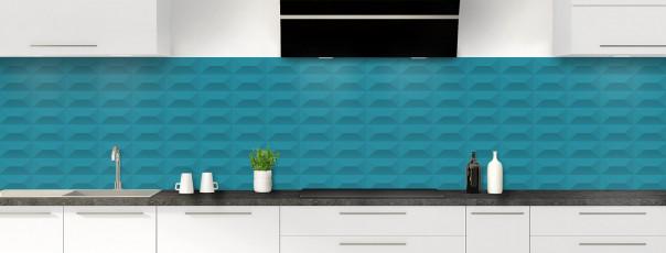 Crédence de cuisine Briques en relief couleur bleu canard panoramique