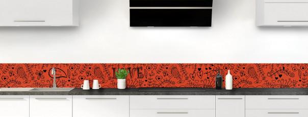 Crédence de cuisine Love illustration couleur rouge brique dosseret