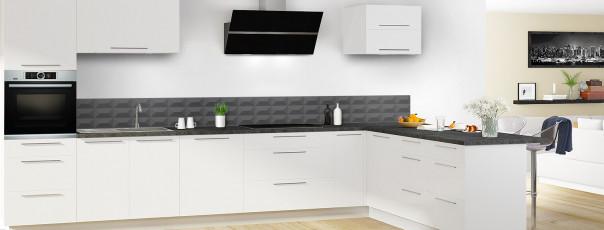 Crédence de cuisine Briques en relief couleur gris carbone dosseret en perspective