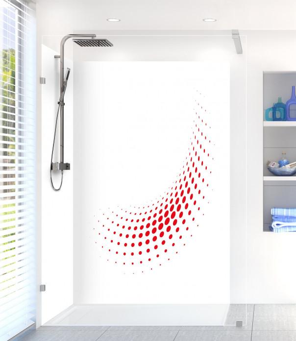Panneau de douche Nuage de points couleur rouge vif motif inversé