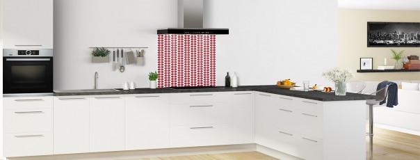 Crédence de cuisine Petites Feuilles Blanc couleur rouge carmin fond de hotte en perspective