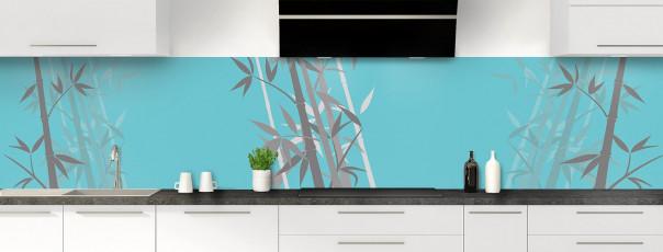 Crédence de cuisine Bambou zen couleur bleu lagon panoramique motif inversé