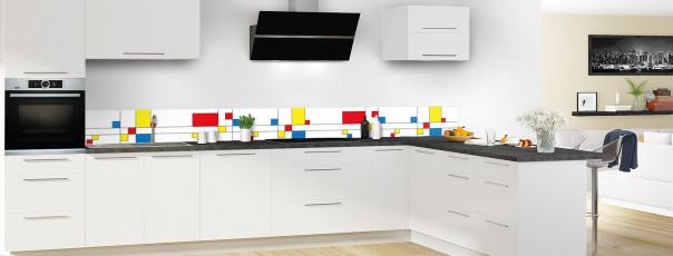 Crédence de cuisine Rectangles Mondrian dosseret motif inversé en perspective