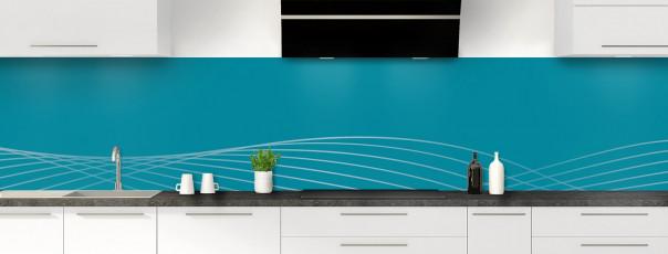 Crédence de cuisine Courbes couleur bleu canard panoramique motif inversé