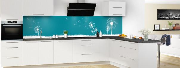 Crédence de cuisine Pissenlit au vent couleur bleu canard panoramique motif inversé en perspective