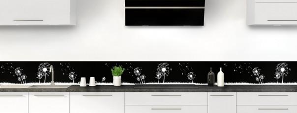 Crédence de cuisine Pissenlit au vent couleur noir dosseret motif inversé