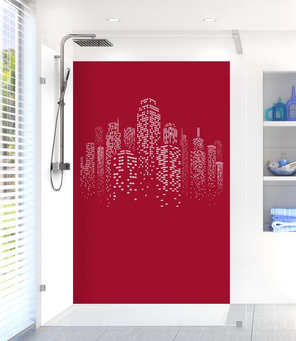 Panneau de douche Gratte-ciels couleur rouge carmin