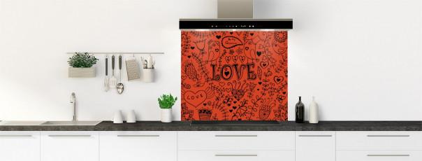 Crédence de cuisine Love illustration couleur rouge brique fond de hotte