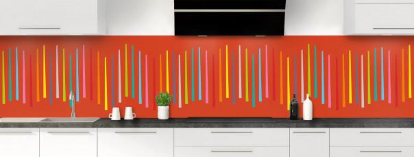 Crédence de cuisine Barres colorées couleur rouge brique panoramique