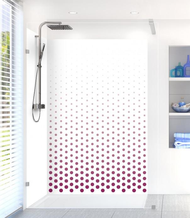Panneau de douche Pluie de points couleur prune