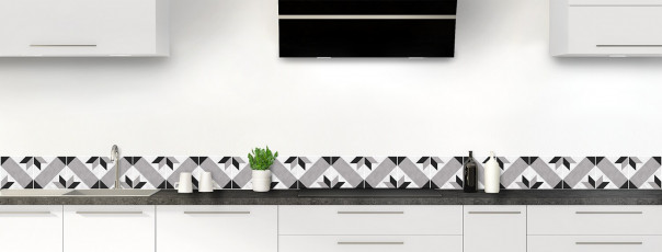 Crédence de cuisine Carreaux de ciment vintage  Noir et Blanc dosseret