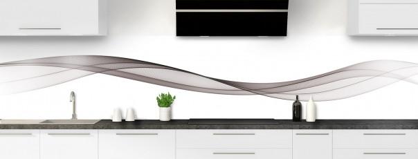 Crédence de cuisine Vague graphique couleur taupe panoramique