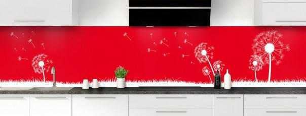 Crédence de cuisine Pissenlit au vent couleur rouge vif panoramique motif inversé