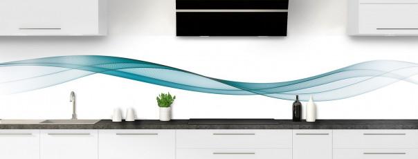 Crédence de cuisine Vague graphique couleur bleu canard panoramique