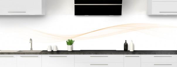 Crédence de cuisine Vague graphique couleur magnolia panoramique motif inversé