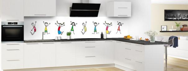 Crédence de cuisine illustration Enfants  panoramique motif inversé en perspective