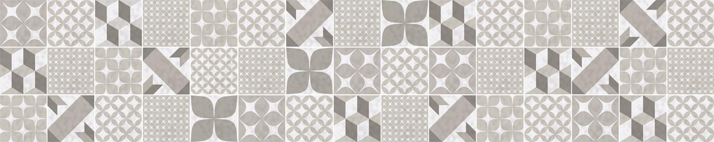 Crédence Carreaux de ciment patchwork taupe