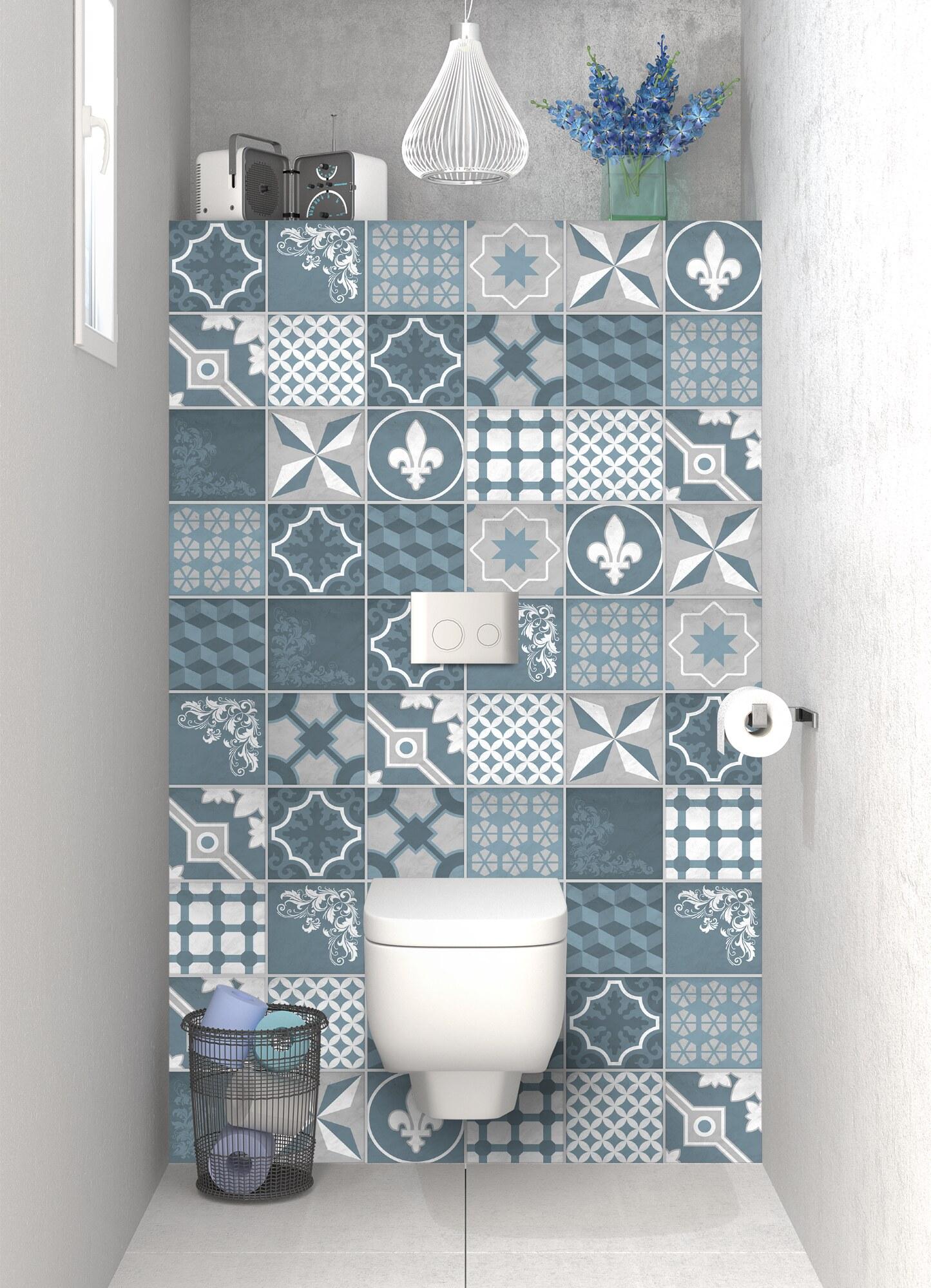 Carreau De Ciment Toilette panneau de wc sur mesurecarreaux de ciment trendy chic bleu